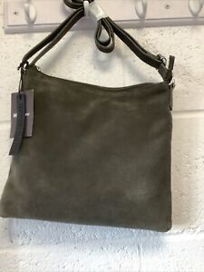 Real Leather Large Crossbody Bag - Olive