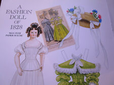 2002 Brenda Sneathen Mattox Wax Over Papier Mache Fashion Paper Doll 1828 Style