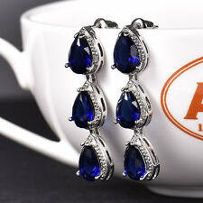 HUCHE Drop Dangle Ocean Deep Blue Sapphire 18K White Gold Filled Women Earrings