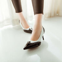 Womens High Heel Stiletto Pointy Toe Retro Vintage Classic Pump Shoes Pu Leather