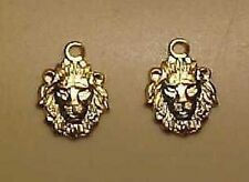 1:9 Model Horse Scale LION HEAD CHARMS in Gold Plated Brass - SOLD BY THE PAIR