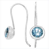 Blautopas Ohrringe/Ohrhaken-Silber Rhodiniert-3,20 Karat
