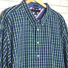 Tommy Hilfiger Men's Shirt Sz XXL Blue/Green Plaid Button Down Long Sleeve Nice