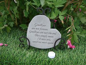 Special Heart Memorial Garden Stone Plaque Grave Marker Ornament Goodbyes