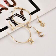 4pcs/set Bohemian Large Circle Earrings Ear Crystal Moon Star Stud Jewelry Gift