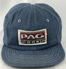 Vintage Pag Seeds Patch SnapBack Trucker Denim Hat Cap Blue Farm Seed