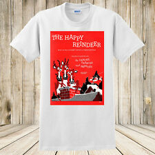 New The Happy Reindeer Christmas T-shirt 1959 Sheet Music Art Santa's Reindeer