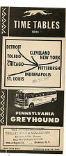 Bus Lines Timetable For Pennsylvania Greyhound  1943