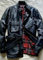 New Polo Ralph Lauren XL Black Leather Jacket Trialmaster Motorcycle RRL Coat