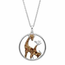 Crystaluxe Giraffe Duo Pendant with Swarovski Crystals in Rhodium-Plated Silver