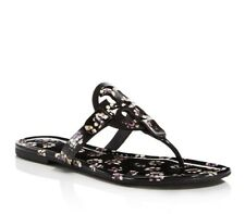 742281a512b88b Tory Burch Patent Leather Miller Sandal Black Stamped Floral Pink 7