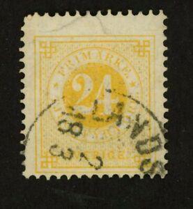 Sweden Stamp Scott #34a  Used, HR