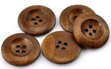 10 Stück Holzknöpfe Rund Braun Lasiert 25mm 4 Löcher Nähen Basteln Kleidung Deko
