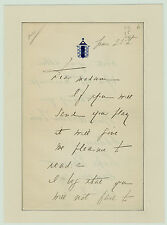 RARE Autograph Letter Signed - IMPORTANT Actress - Minnie Maddern FISKE - 1890s