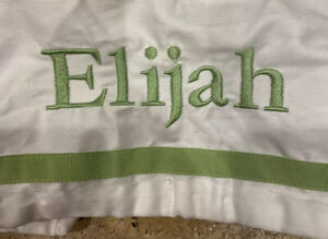 "Pottery Barn Kids Baby Harper Basket Liner XL Green White 15"" x 15"" x 13"" Elijah"