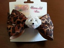 Pretty Brown and  Black Hair Bow with a White Dog on it