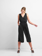 GAP SLEEVELESS WRAP JUMPSUIT IN MODAL BLACK NWT $79 SZ XL