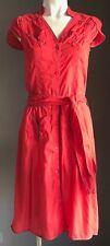 Pre-owned Red & Grey Trim LUX Cap Sleeve Shirt Dress w Waist Tie Size S/8