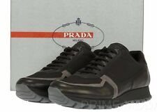 NEW PRADA LADIES LEATHER NYLON BLACK LOGO SNEAKERS TRAINERS SHOES 40/US 10