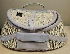 "Vintage Wicker Leather Fishing Creel Basket Rattan 18"" No 8318 Danielson New"
