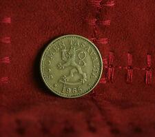 1965 Finland 20 Pennia World Coin Rampant Lion Shield Scandinavian