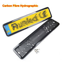 2x Car Carbon Fibre Stainless Steel EU UK License Number Plate Frame Surround