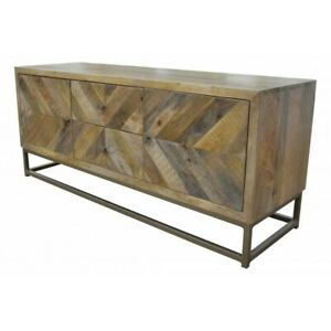 """52"""" L Carl Console Table Solid Mango Wood Brass Iron Base 2 Door 2 Drawer Modern"""
