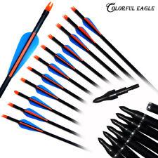 New Hunting Fiberglass Arrow Archery Arrows Shaft Target Practice & Screw Tips