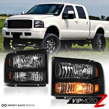 2005-2007 Ford F250 F350 F450 SuperDuty SD Black Front Headlights Assembly Pair