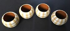 4 round wood napkin rings:  green, gray and cream plaid
