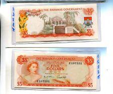BAHAMAS 1965 $5 ORANGE CURRENCY NOTE NICE AU 1683J