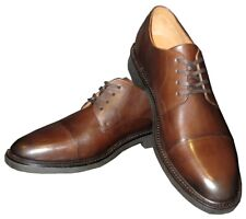 NEW POLO RALPH LAUREN BROWN BURNISHED COW LEATHER CAP TOE SHOES 10 D