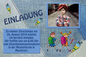 Dein Foto - Einschulung Danksagungskarten Einladung Fotokarten Jeans