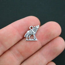10 Wolf Charms Antique Silver Tone Howling Wolf - SC4179