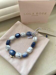 Lola Rose White Magnesite & Blue Drop Stone Tumble Bracelet - NEW