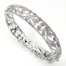 GENUINE ROUND FACET 1.5mm. TOP RICH RED PINK RUBY STERLING 925 SILVER BANGLE