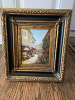 Vintage Large Victorian Style Gold Wooden Picture Frame w Scenic Picture 18x16