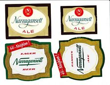 Four (4) different NARRAGANSETT beer labels from RHODE ISLAND !! (Group #3)