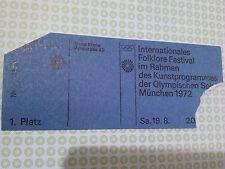 Ticket FOLKLORE FESTIVAL OTL AICHER HFG OLYMPISCHE SPIELE 1972 MÜNCHEN MUNICH