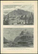 1888-Antiguo impresión Canadá Pacific Railway Banff montaje Stephen Columbia (108)