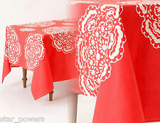 "Anthropologie Tablecloth Coral White Patterns Cotton 72"" x 90"" NIP Mina Print"