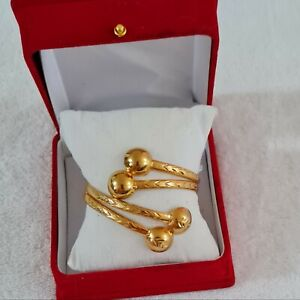 Unique design yellow open gold filled four balls bracelet for women style