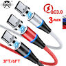 3Pack 3A Magnetic Micro USB Type C Fast Data Sync Charger Cable For IPhones Lot