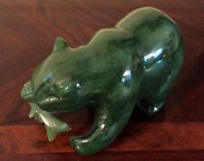 """UF COLLECTION: NEPHRITE GREEN JADE CARVED SCULPTURE """"BEAR CAUGHT SALMON"""""""
