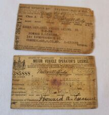 1937 State of MARYLAND Motor Vehicle Operator's License Cumberland MD Lot of 2
