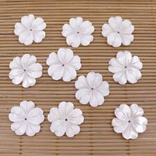 10 PCS 25mm Carved Petal Flower Shell Natural White Mother of Pearl Loose Beads