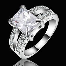 Size 9 White Sapphire Wedding Band Ring white Rhodium Plated Women's Jewelry