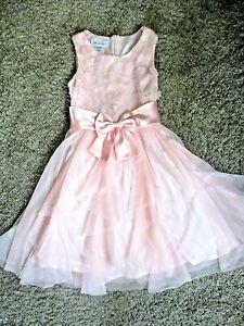 Bonnie Jean Girls Dress Pink Sequins Ruffles Bow Party Dress Weddings Sz 10 EUC
