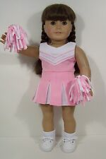 """3pc PINK Cheer Cheerleader Doll Clothes Pom-Poms For 18"""" American Girl (Debs)"""