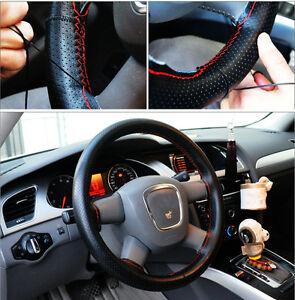 DIY Car Steering Wheel PU Leather Cover Case With Needle and Thread Universal